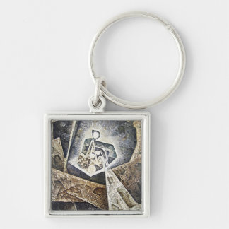 Cosmic Unconsious Silver-Colored Square Key Ring