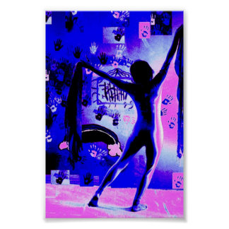cosmic unicorn flying purple girl raving edm poster