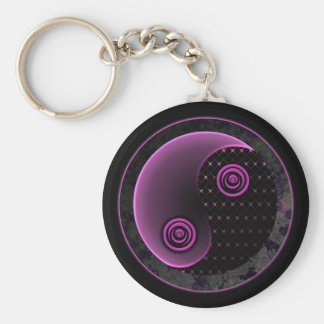Cosmic Violet in Balance Yin Yang Basic Round Button Key Ring