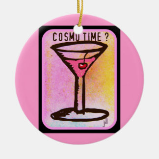COSMO TIME PINK MARTINI PRINT ORNAMENTS