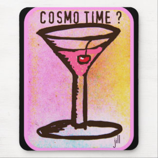 COSMO TIME PINK MARTINI PRINT MOUSE PAD