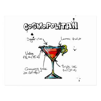 Cosmopolitan Cocktail Recipe Postcard
