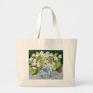 Cosmos and hydrangeas in a chinese vase 2013 large tote bag