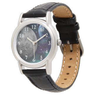 Cosmos Classic Black Leather Wrist Watch