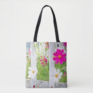 Cosmos Flower Garden Tote Bag