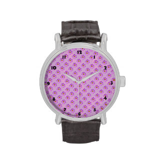 Cosmos Flowers with pink background Wrist Watches