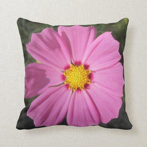 Cosmos Pink Flower Throw Pillows