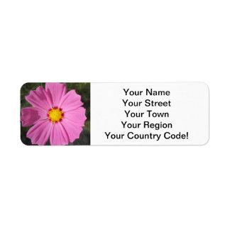 Cosmos Pink Flower Return Address Label