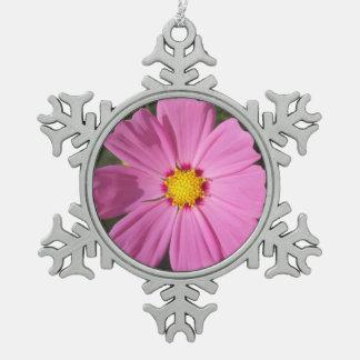 Cosmos Pink Flower Pewter Snowflake Decoration