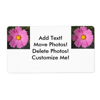 Cosmos Pink Flower Shipping Label