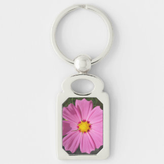 Cosmos Pink Flower Silver-Colored Rectangle Key Ring