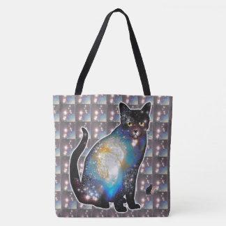 """Cosmos"" Space In Cat Tote Bag"