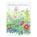 Cosmos Watercolor Flower 70th Birthday Party 13 Cm X 18 Cm Invitation Card