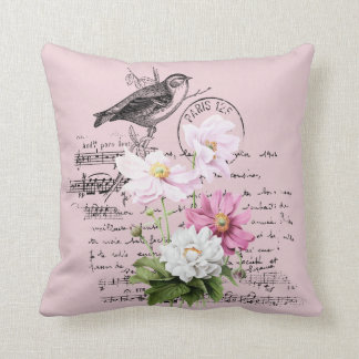Cosmos With  Vintage Postcard  Overlay Redouté Cushion