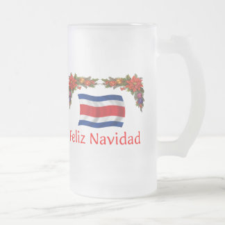 Costa Rica Christmas Frosted Glass Beer Mug