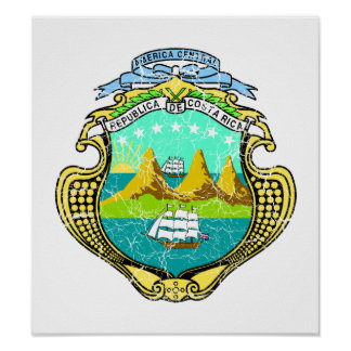 Costa Rica Coat Of Arms Poster