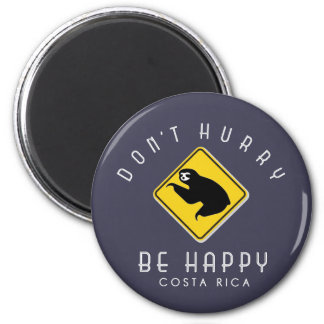 Costa Rica Don't Hurry Be Happy Sloth Blue Magnet