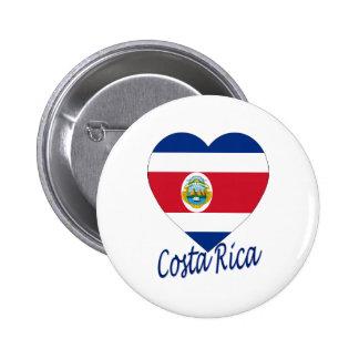 Costa Rica Flag Heart 6 Cm Round Badge