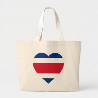 Costa Rica Flag Heart Tote Bags