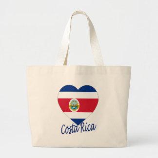 Costa Rica Flag Heart Canvas Bags