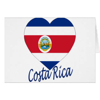 Costa Rica Flag Heart Greeting Cards