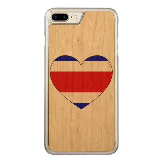Costa Rica Flag Heart Carved iPhone 8 Plus/7 Plus Case