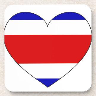 Costa Rica Flag Heart Coaster