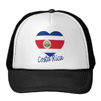Costa Rica Flag Heart Trucker Hats