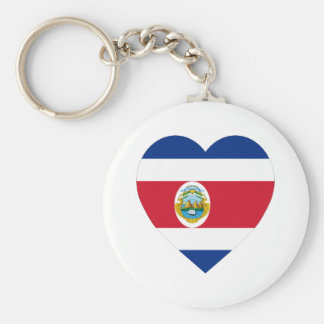 Costa Rica Flag Heart Keychain