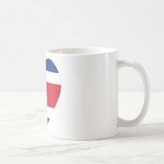 Costa Rica Flag Heart Coffee Mugs