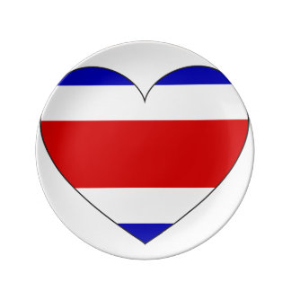 Costa Rica Flag Heart Plate