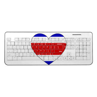 Costa Rica Flag Heart Wireless Keyboard