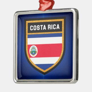Costa Rica Flag Silver-Colored Square Decoration