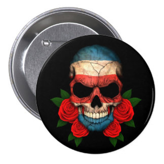 Costa Rica Flag Skull with Red Roses Pinback Button