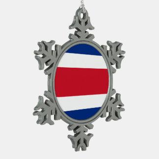 Costa Rica Flag Snowflake Pewter Christmas Ornament