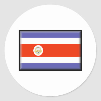 Costa Rica Flag Round Stickers