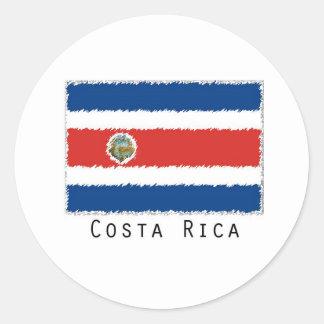 Costa Rica flag stickers- set of 20 Round Sticker