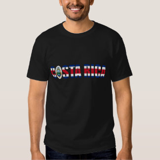 Costa Rica Flag Text T Shirts