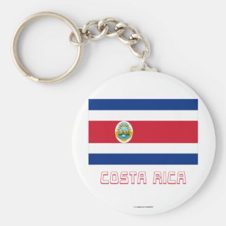 Costa Rica Flag with Name Basic Round Button Key Ring