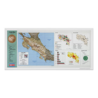 Costa Rica Map 1991 Poster