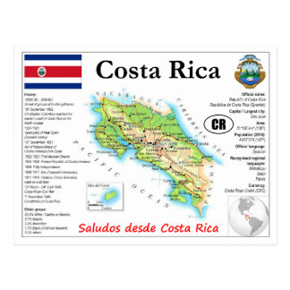 Costa Rica Map Postcard