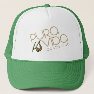 Costa Rica Pura Vida Summer Sloth Green Souvenir Trucker Hat