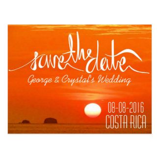 Costa Rica Sunset Beach Save the Date Postcard