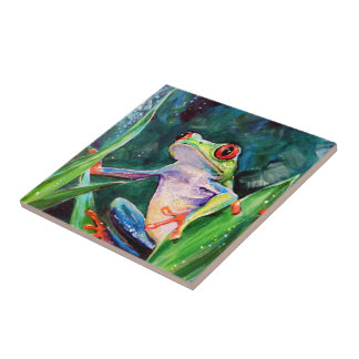 Costa Rica Tree Frog Small Square Tile