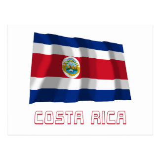 Costa Rica Waving Flag with Name Post Cards