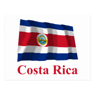 Costa Rica Waving Flag with Name Post Card