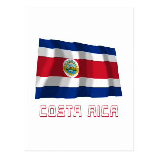 Costa Rica Waving Flag with Name Postcard