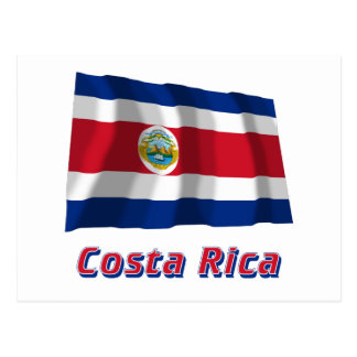Costa Rica Waving Flag with Name Postcards