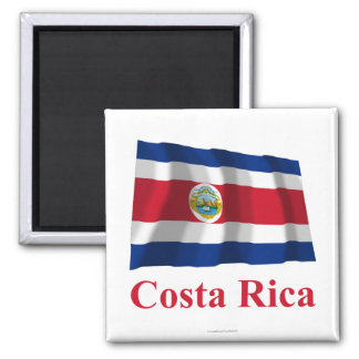 Costa Rica Waving Flag with Name Square Magnet