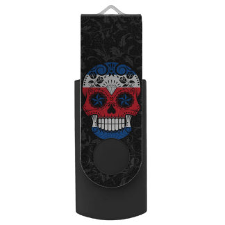 Costa Rican Flag Sugar Skull with Roses Swivel USB 2.0 Flash Drive